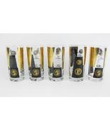 Vintage Cera Glass Highball Drinking Glasses (5) Gold & Black Gold Coins  - $22.00