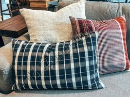 Pottery Barn Douglas Lumbar Pillow Cover Blue 16x26L Plaid  - $33.83