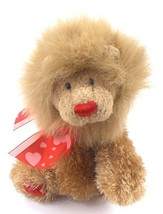 "Gund SWEETS 14075 Fuzzy LION 8"" Beanbag Plush with Red Paw Pads & Heart ... - $9.99"
