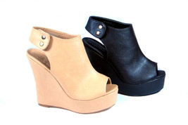Bicast Leather Peep Toe Slingback Wedge Platform Sandal Bootie Open Toe - $28.99