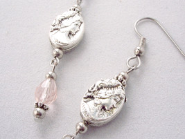Victorian Inspired Cameo Drop Earrings Pink image 5