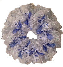 Snowy Night Winter Ribbon Deco Mesh Wreath - $89.99