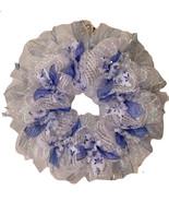 Snowy Night Winter Ribbon Deco Mesh Wreath - $89.99