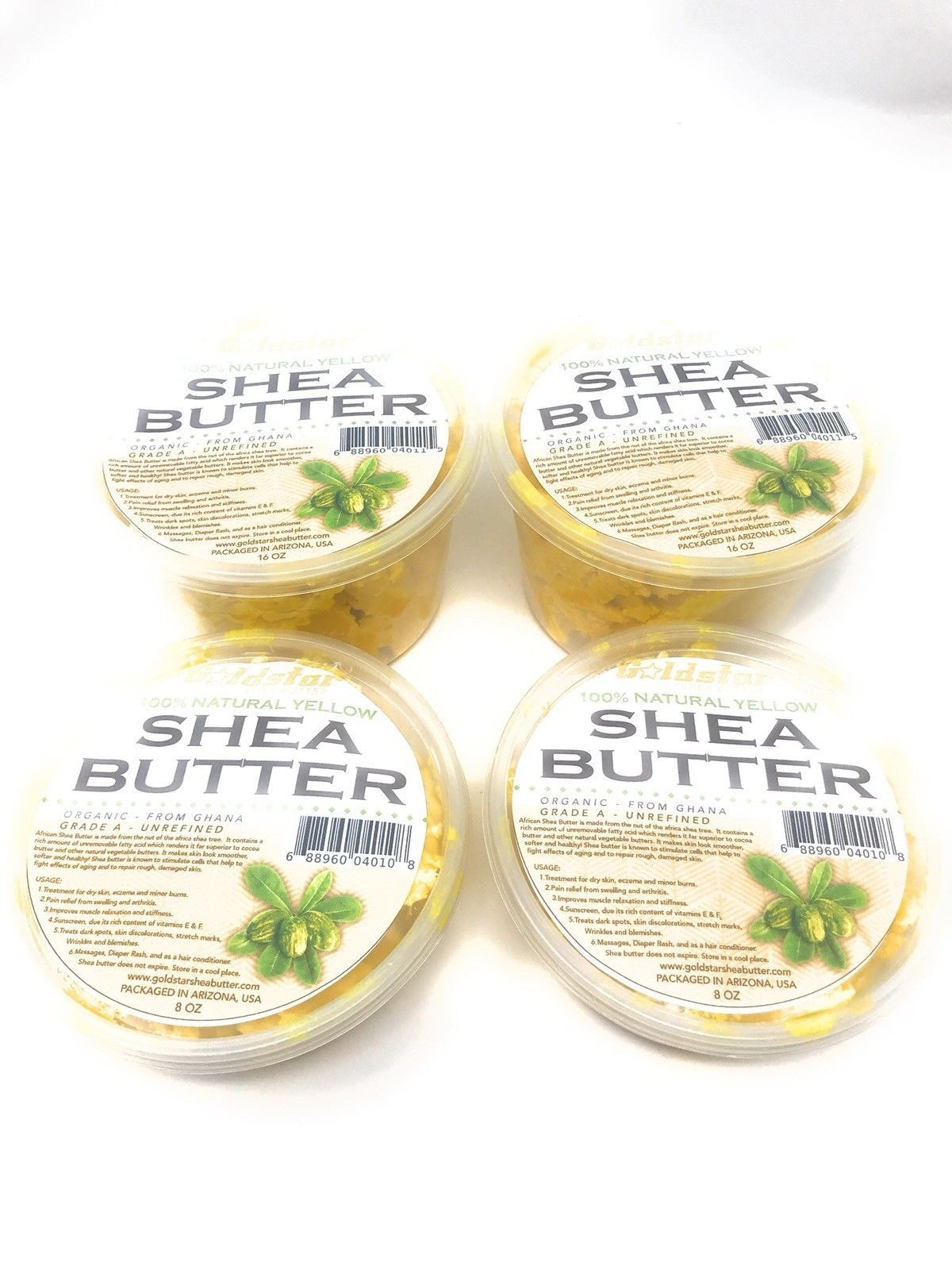 (4 PACK) 100% GRADE A UNREFINED NATURAL RAW AFRICAN SHEA BUTTER YELLOW 48 OZ - $37.97