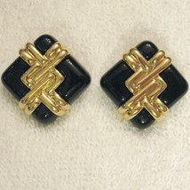 Avon ZIG ZAG Pierced EARRINGS BOLD Gold Tone & Black Pattern Nickel Free... - $9.88