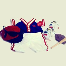 Build-A-Bear Baseball Uniform with Cap Jersey Pants Shoes Glove Bat Sunglasses  - $24.06