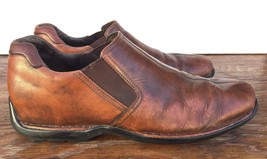 Cole Haan Grand Brown Leather Slip On Loafers Split Toe Driving Shoes Me... - $38.52