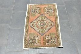 Turkish Vintage Doormat Rug Anatolian Antique Natural Wool Rug 21 x 37 i... - $104.50