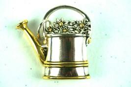 Vintage Jewelry Brooch Watering Jug Daisy's Garden Flowers Best Silver/G... - $12.17