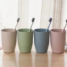4 Colors Bathroom Wheat Straw Toothbrush Holder Cup Wash Gargle Suit Bat... - $12.70
