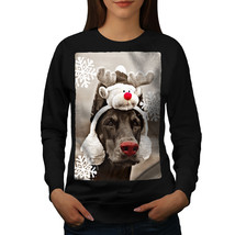 Funny Dog Deer Christmas Jumper Reindeer Women Sweatshirt - $18.99