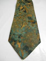 J.P. Tilford Green and Golden Brown Floral Necktie - $6.23