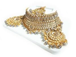 Indian Bridal GOLD Choker Necklace, Earrings & Maang Tikka Set, Gray COL... - $22.76