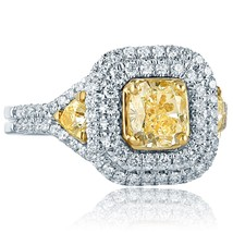 2.16 TCW Cushion Cut Yellow Diamond Engagement Ring 18k White Gold - $3,959.01