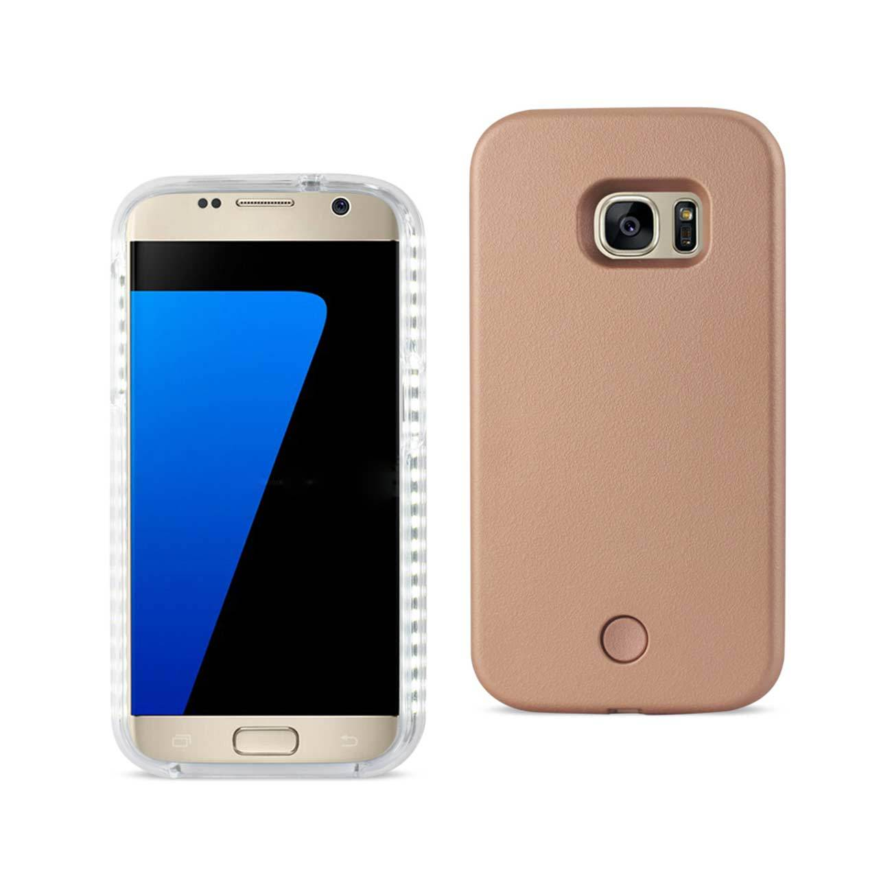 REIKO SAMSUNG GALAXY S7 LED SELFIE LIGHT UP ILLUMINATED CASE IN ROSE GOLD for sale  USA
