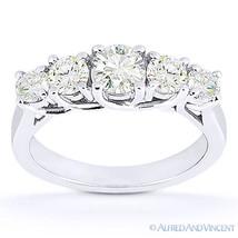 Round Cut Moissanite Anniversary 5-Stone Trellis Wedding Band in 14k Whi... - $476.00+