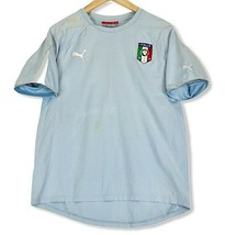 Puma Italia Men Blue Short Sleeve Size M Football Soccer Jersey Patch Spell Out - $18.69