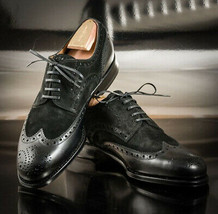 Black Rounded Brogues Toe Lace Up Vintage Superior Leather Men Oxford Shoes - $139.99+