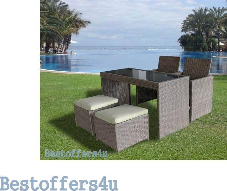 Garden Rattan Set 5pcs Cube Table Stools Chairs Outdoor Patio Small Dining Set  image 3