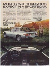 Original 1977 Porsche 924 with Woman and Horse Vintage Print Ad - $7.49