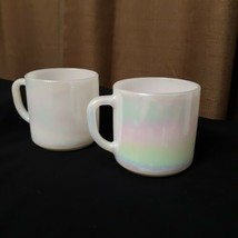 Vtg Set of 2 Moonglow Shell Pearl Iridescent by Federal Milk Glass Coffee Mug - $24.75