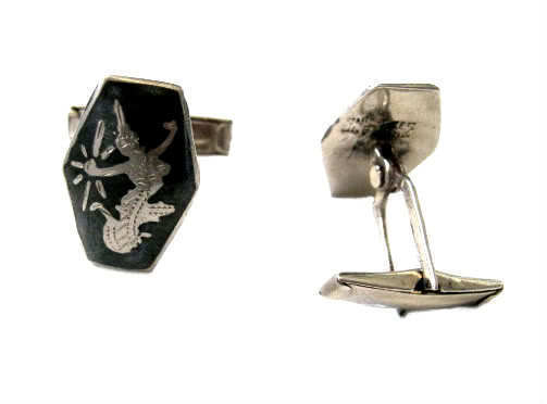 Vintage Thai Sterling Silver Niello Cuff Links - Siamese Goddess