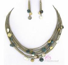 Womens Mutli Chains Layered Bib Rustic Tri-tone Patina Burnished Necklace Set - $5.97
