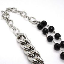 SILVER 925 NECKLACE, DOUBLE ROW ONYX, CHAIN CURB CHAIN, HEART MILLED image 5