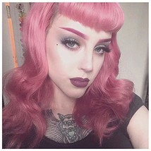 BUQI Hair Vintage Wigs Long Finger Wavy Wig With Bettie Page Bangs Synth... - $21.96