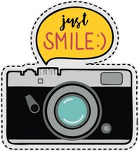 """3"""" Just Smile Camera Decal for Water Bottle Sticker WATERPROOF - $3.22"""