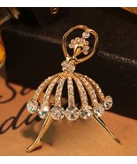 Trendy Crystal Studded Ballet Ladies Brooch Fashion Jewelry Accessory - $14.90