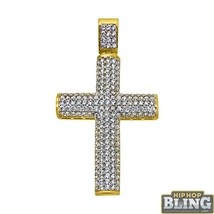 10K Yellow Gold CZ Rounded Small Bling Cross - $196.00