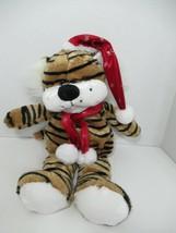 Best made toys plush tiger brown black stripe Red Santa hat snowflake scarf - $19.79