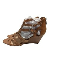 Jessica Simpson Womens Shalon Tan Caged Leather Open Toe Wedge Sandal Si... - $18.00