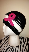 Breast Cancer Awareness Crochet Hat/Black  - $22.56 CAD