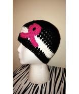 Breast Cancer Awareness Crochet Hat/Black  - $18.00