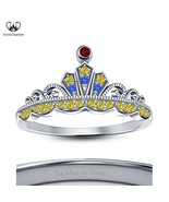 18k White Gold Plated Sterling Silver Disney Princess Snow Crown Ring Fo... - £40.44 GBP