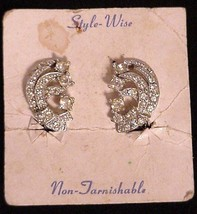 Style-Wise Rhinestone Clip-on Earrings NOS - $29.95
