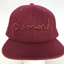 Diamond Supply Co New Era Fitted Hat Skate Cap Burgundy Trucker Sz 8 Wool VTG - $29.69