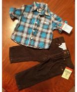 OSH KOSH Blue Plaid Flannel Shirt Black Corduroy Pants Boys 9 Months Win... - $16.03