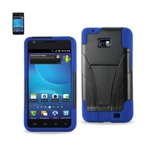 REIKO SAMSUNG GALAXY S2 HYBRID HEAVY DUTY CASE WITH KICKSTAND IN NAVY BLACK - $7.12