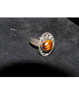 Vintage 925 Sterling Silver Oval Openwork w Small Brown Glass Cabachon M... - $14.01