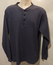 Van Heusen Henley Long Sleeved Box Weave Shirt Size LG - $13.71