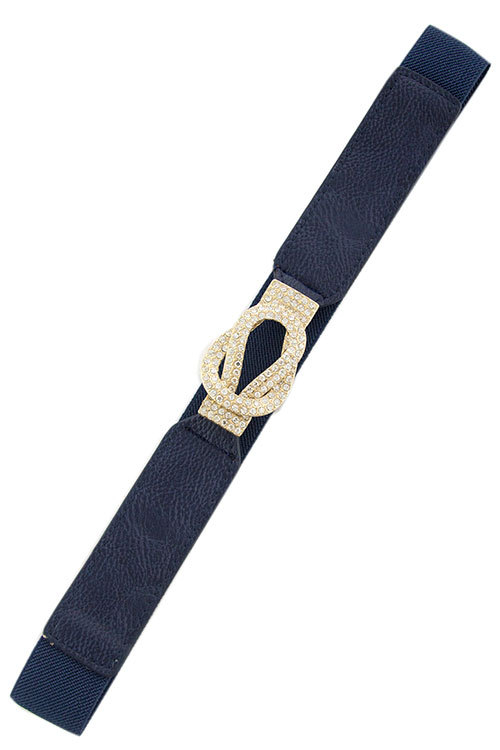 Crystal Loop Navy Stretch Belt, Narrow Clear Crystal Buckle Elastic Skinny Belt