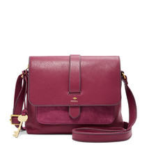 Fossil Kinley Raspberry Wine Leather Snap Closure Small Crossbody/Should... - $279.99