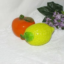 VINTAGE ART GLASS FRUIT ORANGE LEMON 2 MOUTH BLOWN HAND MADE HOME KITCHE... - $17.99