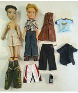 Lot of 2 Bratz Boys Male Dolls plus Outfits, Clothes, Shoes, Feet - $28.99