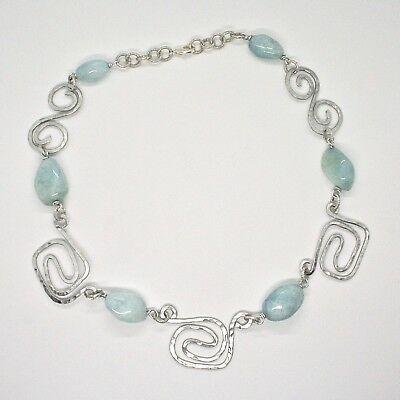 Necklace the Aluminium Long 50 Inch with Aquamarine Blue Blue