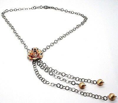 Necklace Silver 925 Black and Pink, Chain Rolo ' , Flower Pink, Spheres Hanging