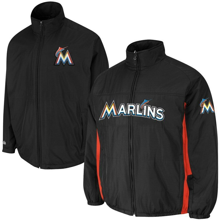 Primary image for Mens Majestic Black Miami Marlins Triple Climate 3-In-1 On-Field Jacket XL NWT